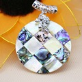 50mm Hot sale Round Accessories Series stripe Abalone Material seashells sea shells pendant necklaces jewelry crafts making DIY
