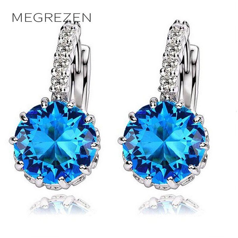 30% Off Bridal Dangle Blue Topaz Silver Earrings Crosses CZ Diamond Jewelry White Earring For Women Summer 2016 Bijouterie B007