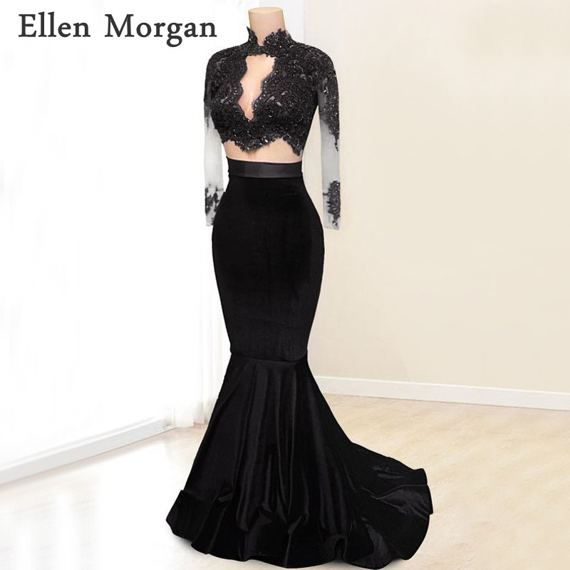 2 Pieces African Black Girls Mermaid   Prom     Dresses   with Lace Appliques Beaded Sexy High Neck Long Sleeves Velvet Party Gowns