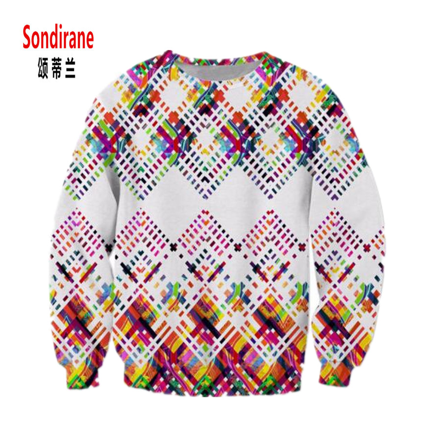 Sondirane New Arrival 3D Print Striped Lattice Graphic Sweatshirt Design Men/Women Long Sleeve Pullover Tops Casual Clothing