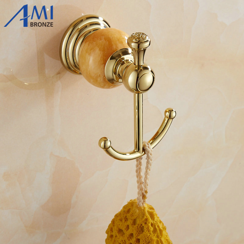 Bathroom Hardware 62 Jade Series Golden Polish Copper Jade Hair Rack Novelty Households Rack Hair Blow Dryer Holder Wall Hang Bathroom Shelf