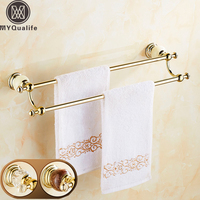 Luxury Crystal And Jade Wall Mounted Double Towel Bar Golden Brass Bathroom Dual Bar Towel Holder