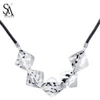 SA SILVERAGE Real 925 Sterling Silver Rose Choker Necklaces