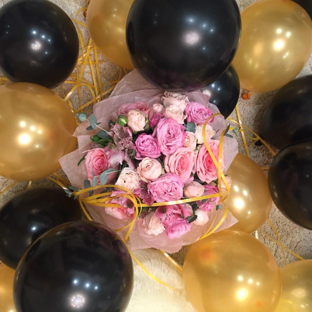 Картинка с шарами и цветами, открытка картинка