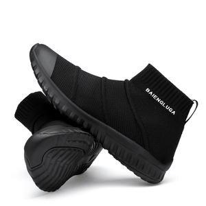 6b1965f7e9d High Top Sneakers Men Unisex Knit Upper Breathable Shoes Fashion Shark Logo  Couple Black   White Shoes Shoes Casual