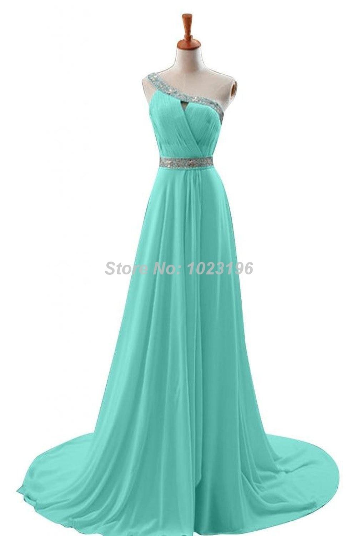 2015 Hot Sale Aqua One Shoulder Long Prom Dresses Chiffon Homecoming ...