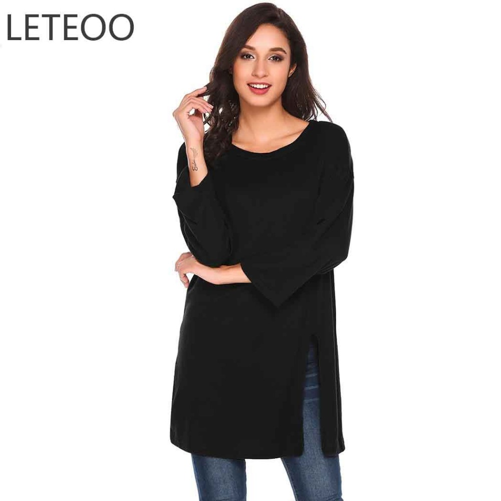 LETEOO Side Split Long T-Shirt Autumn Korean Clothes Women Black Top Solid Long Sleeve Tshirts Cotton Women Tee Shirt Femme S20