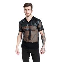 Mens sexy mesh black PU patchwork t shirt tops club dance tee gay dress leather see through t-shirt camisetas hombre