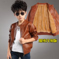 New boy add wool coat children coat male thickening autumn winter with cuhk leather children's wear jackets fashion handsome