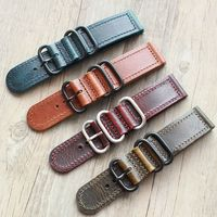 Red Blue Yellow Brown Vintage Leather Strap Watch Band Greased leather Bracelet 20mm 22mm 24mm Red Watchband For Longines Watch