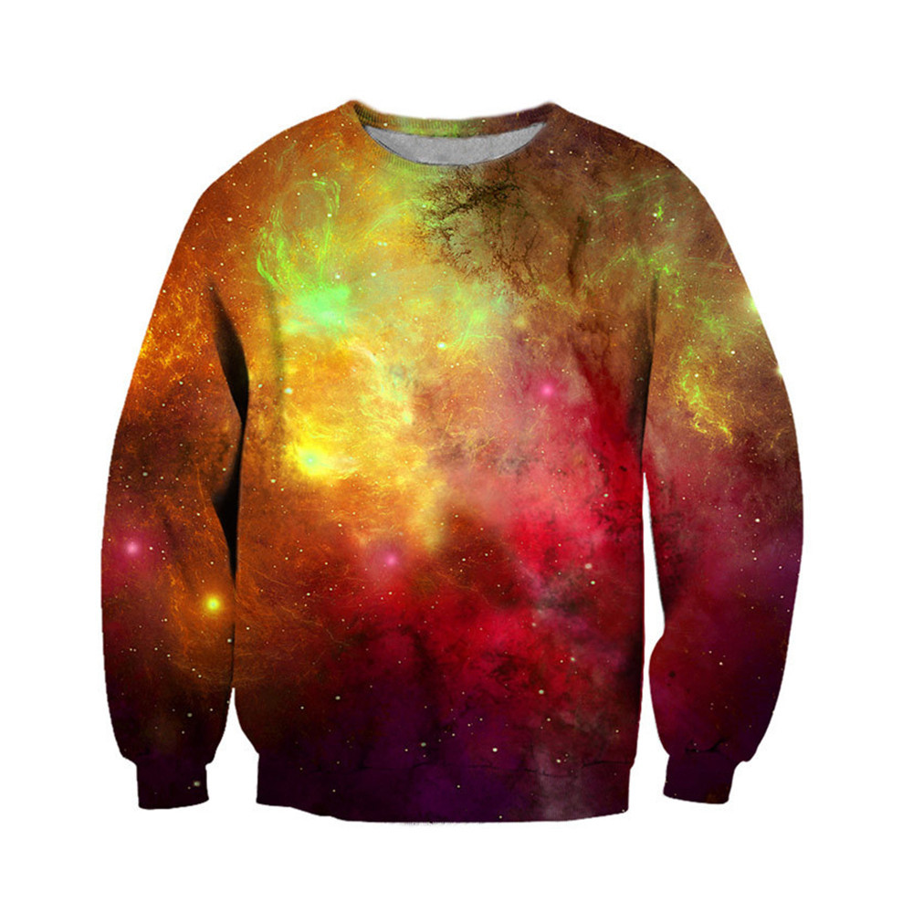 Florescent Light 3d Pullover Fashion Man Sweatshirt Galaxy Starry Sky Printed Long Sleeve Warm Tracksuit Men Casual Outwear