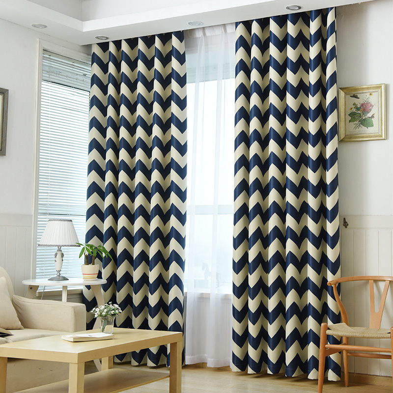 Langsir Siap Dibuat untuk Bilik Tidur Bilik Tidur Chevron Design - Tekstil rumah