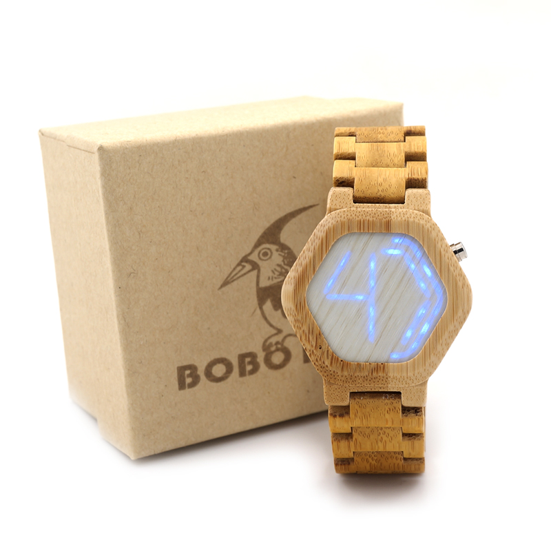 ФОТО BOBO BIRD E03 Brand Designer Digital Watch Night Vision Bamboo Watch Mini LED Watch Design With Unique Time Display Tokyoflash