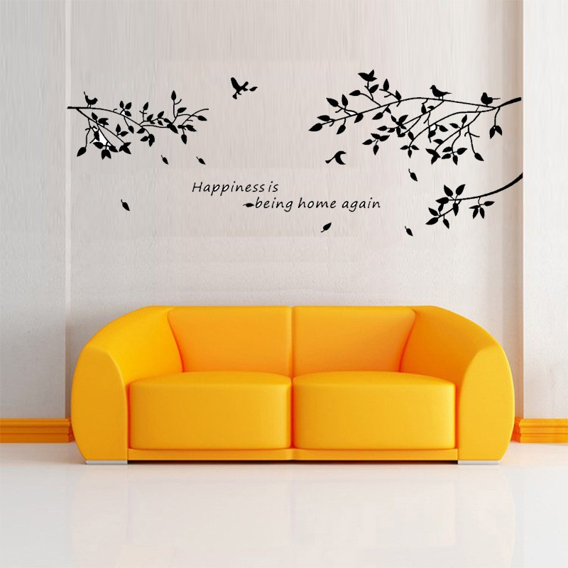 Bonheur est d 39 tre la maison oiseau mur art stickers for Autocollant decoratif maison