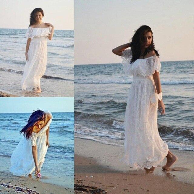 Bohemian Wedding Dress 2017 Elegant Boat Neck Lace Wedding dresses ...