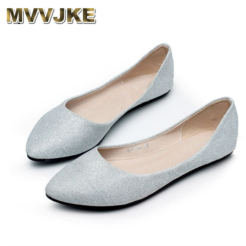 MVVJKE Summer slips women shoes for dancing pointed toe flats ballet ladies loafers soft sole low top gold silver new 2017 spring summer women shoes pointed toe high quality brand fashion womens flats ladies plus size 41 sweet flock t179