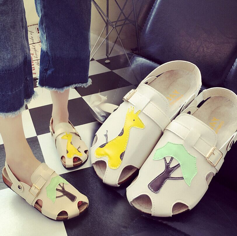 2017 summer women cork flats slippers cartoon cutout sandals toe cap covering lyrate cute flat heel leather shoes pu pointed toe covering heel flats