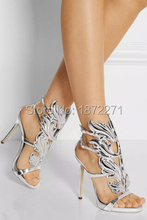 Hot selling silver leaf embellished patent leather sandals elegant office lady party shoes high heel for summer women ankle boot
