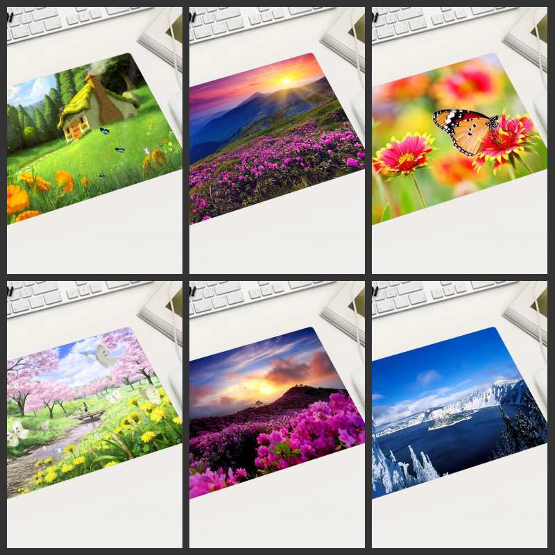 XGZ Flower Butterfly Landscape Mouse Pad Small Size Rectangular Washable Suitable For Home Desktop Computer Office Laptop Mat