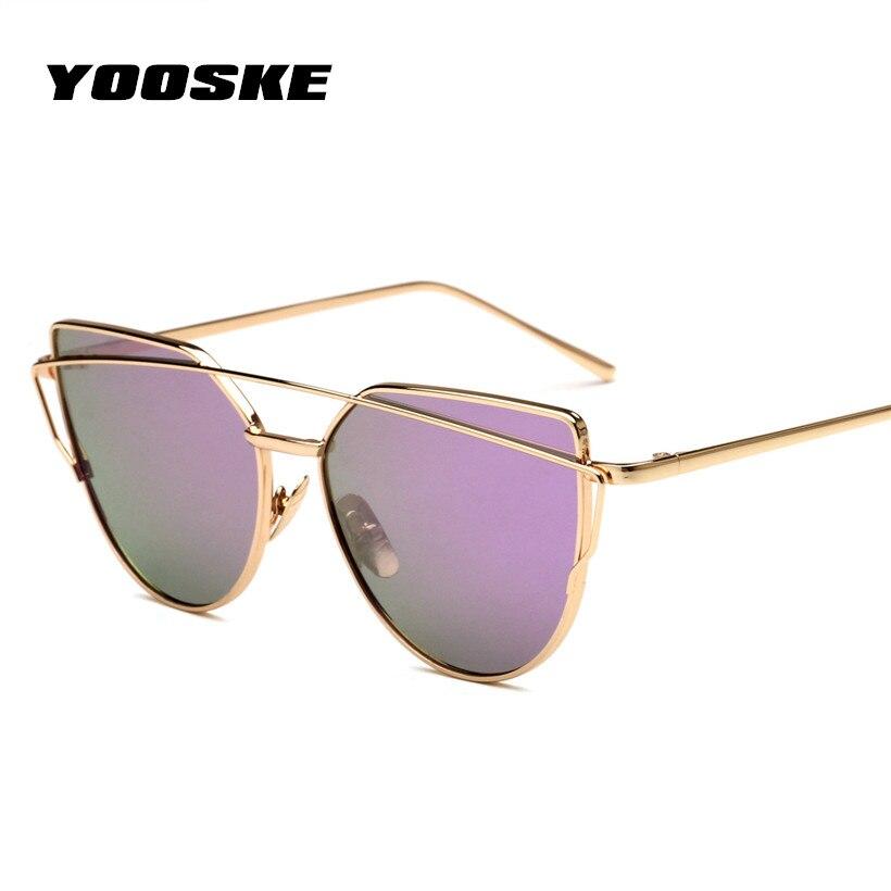 YOOSKE Cat Eye Sunglasses Women Metal Twin-Beams Sun Glasses Female Retro Coating Mirror Glasses Flat Panel Lens
