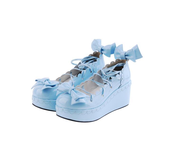 Lolita 33 rose 47 Chaussures De Princesse Coins Partie Femme Mori Robe Fille Empreinte Hauts Femmes blue blanc Noir Cosplay Talons Pl Bowtie Angélique Pompes Dame qIwUgAc