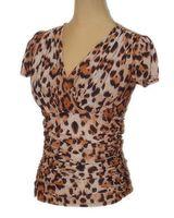 ballroom dance modern dance latin dance top ruffled waist wrap collar leopard print fabric T11051
