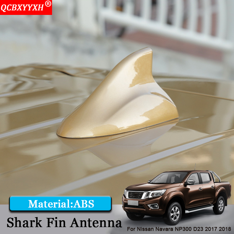 QCBXYYXH Car Styling ABS Shark Fin Antenna Special Car Radio Aerials Signal Car Decoration For Nissan Navara NP300 D23 2017 2018 2014 18 car wind deflector awnings shelters for navara np300 d23 black window deflector guard fit for nissan navara np300