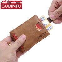 GUBINTU Handmade Leather Wallets For Men RFID Blocking Bifold Slim Genuine Leather Money Clip Cash Card