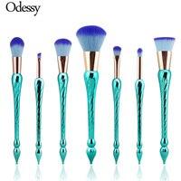 High Quality 7PCS New Unicorn Makeup Brushes Mermaid Fishtail Make Up Brush Set Rainbow Hair Spiral