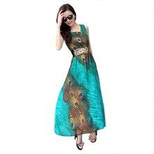 Для женщин макси Вечеринка летнее платье Бохо длинное пляжное шифоновое платье павлина xxl