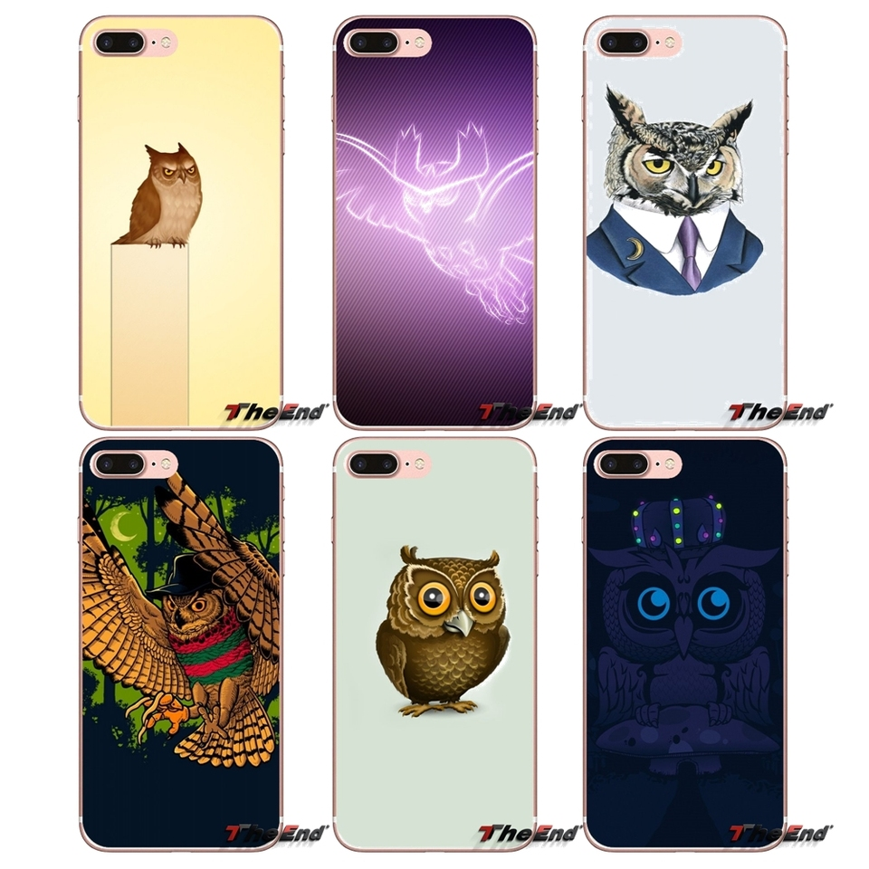 TPU Transparent Cover Vector Wallpaper Owl For Samsung Galaxy S2 S3 S4 S5 MINI S6