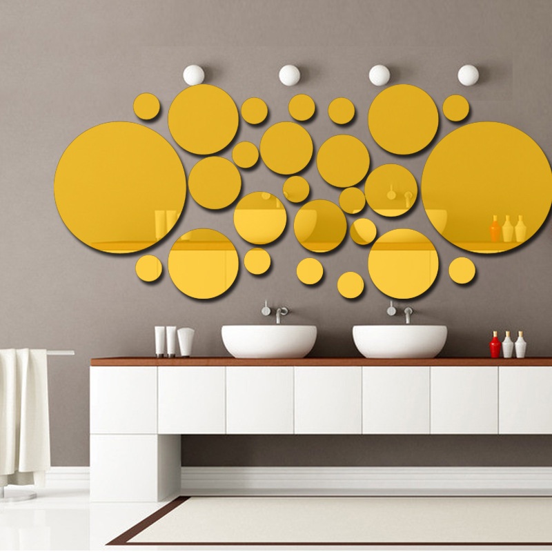 3D acrylic combination round mirror wall sticker Living room bedroom ...