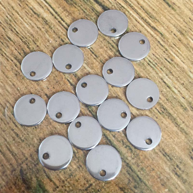 2 Pcs Stainless Steel Blank Stamping Tags Charms Pendants Round Pendants