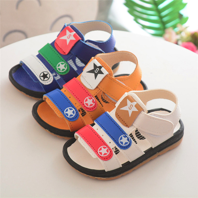 3 Color Summer Baby Boy Shoes Toddler Baby Boys Star Print Roman Soft Sole Anti-slip Shoes Beach Sandals Baby Boy Sandals M8Y23 ...