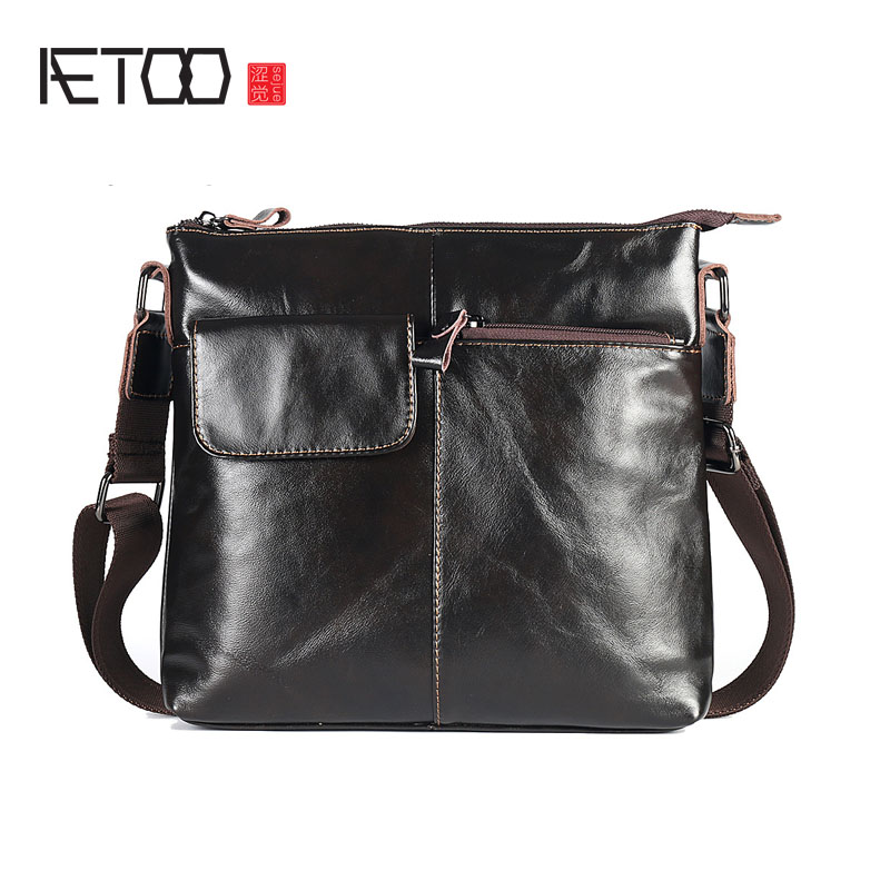AETOO The new business men 's bag of vertical men' s Messenger bag leather bag leather casual shoulder bag bag messenger bag casual laptop business messenger bag factory direct new 2017 high end fashion men s shoulder bag leather
