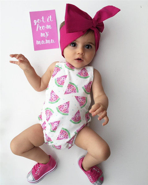 3536701a3 Newborn Baby Girl Romper Clothes Summer Sleeveless watermelon ...