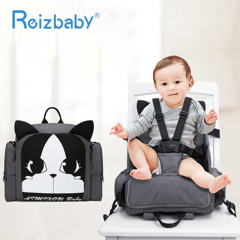 REIZBABY Functional Large Capacity Diaper Bag Foldable Baby Safety Eating Chair Waterproof Outdoor Portable Storage Bag Thermal тарелочки constructive eating