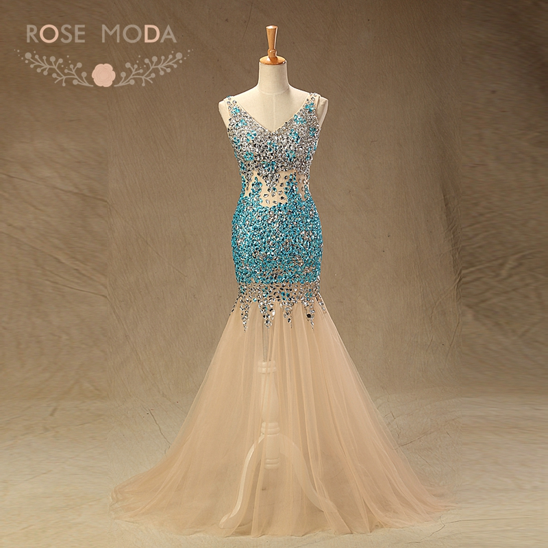 Rose Moda Sexy Crystal   Prom     Dresses   V Neck See Through Mermaid Party   Dress   Reflective   Dresses   2019