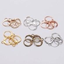 Lot de 20 crochets de boucles d'oreilles français, or Rose 14x12mm, Base pour fabrication de bijoux DIY