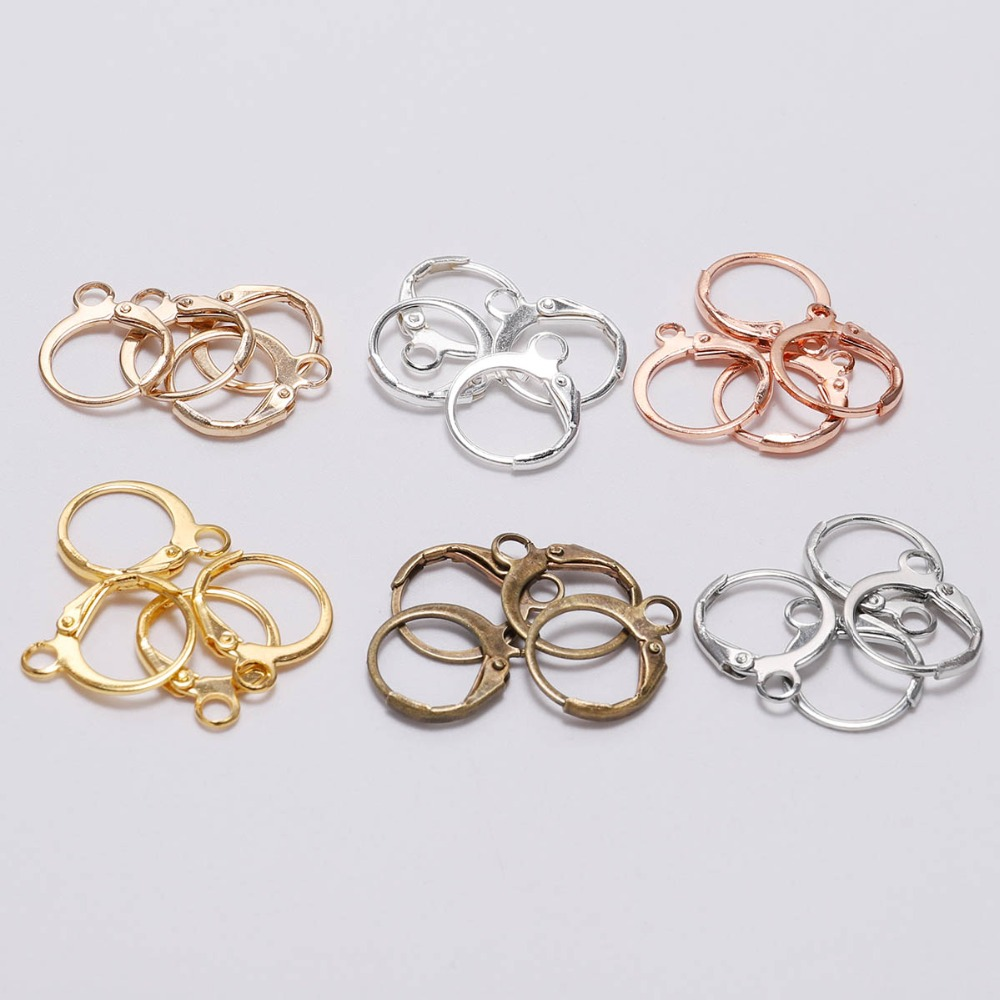 20pcs/lot 14x12mm Silver Gold Rose Gold French Earring Hooks Wire Settings Base For Earrings DIY Jewelry Making Findings