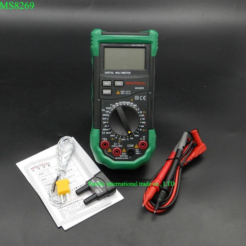 Digital Multimeter 3 1/2 LCR Meter AC/DC Voltage Current Resistance Capacitance Temperature Inductance Tester Mastech MS8269 ut612 digital lcr meter with inductance capacitance resistance frequency tester