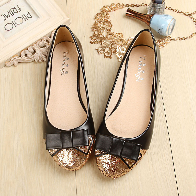 Taomengsi The New Sequined Doll Shoes Han Version of The Shallow Bow-tie Single Shoes Round Head Flat Women's Shoes new round of the great game