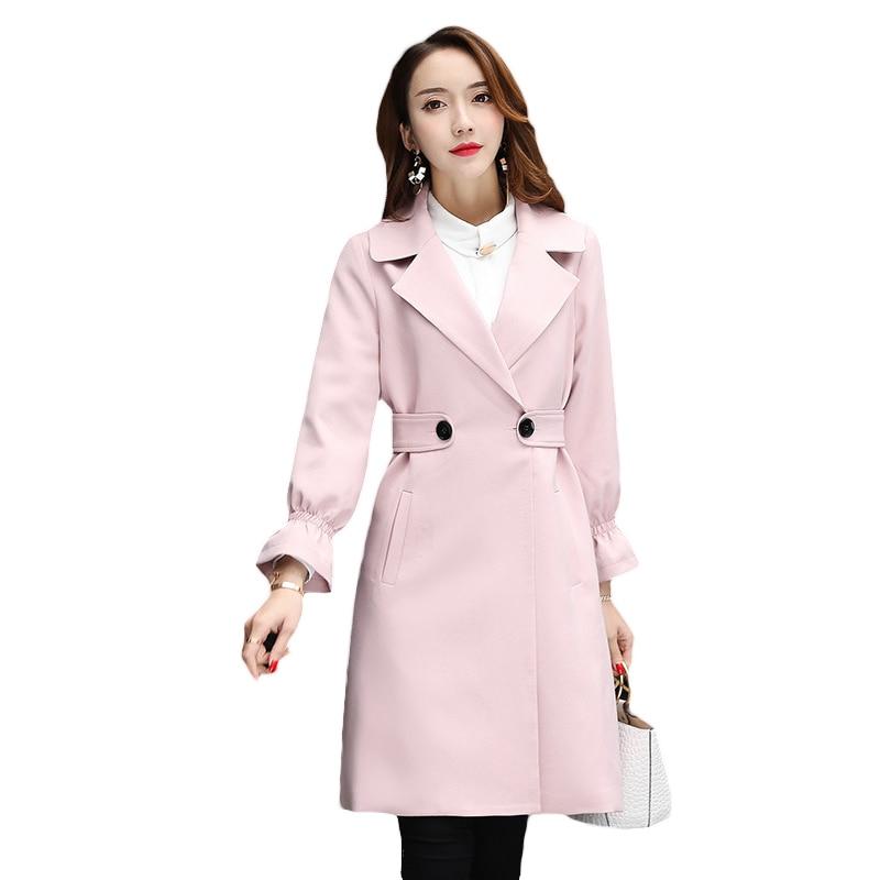 Mode Nouveau Femme Printemps Slim pink Long Femmes Automne Trench vent Pardessus Coupe Black 2017 Casual Double Breasted orange L285 fqC1g