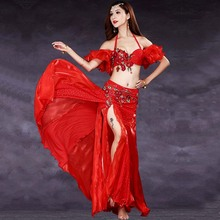 Luxury 3pcs Belly Dance Costume Bollywood Costume Indian Dress Bellydance Dress Womens Belly Dancing Costume Sets Tribal