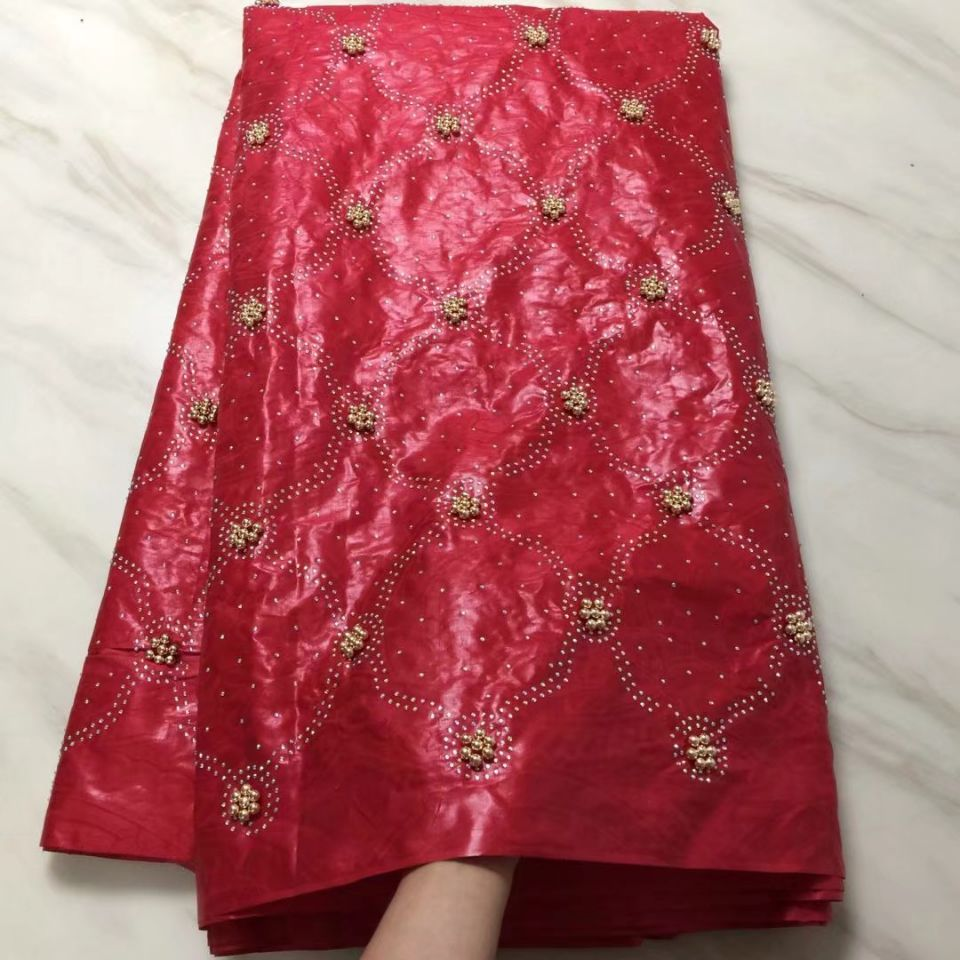 5Yards/pc High quality red bazin lace fabric with beads and rhinestone african brocade cotton fabric for party dress BZ24-135Yards/pc High quality red bazin lace fabric with beads and rhinestone african brocade cotton fabric for party dress BZ24-13