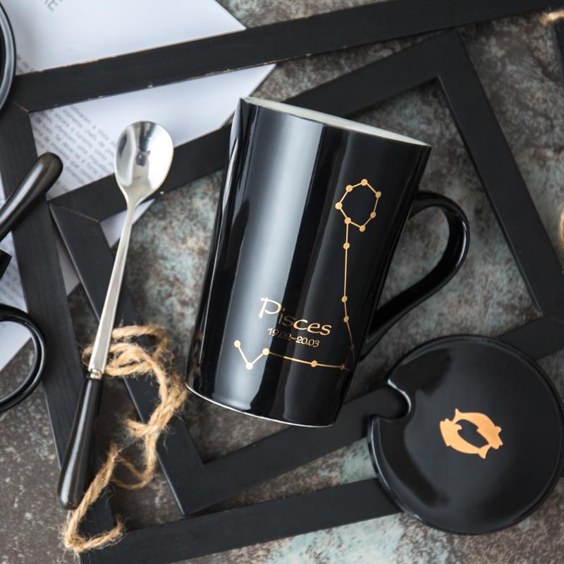 TECHOME Creative Bone Ceramic Mug Constellation Mugs Milk Coffee Mug High-capacity Office Ceramic Lovers Gift Mug