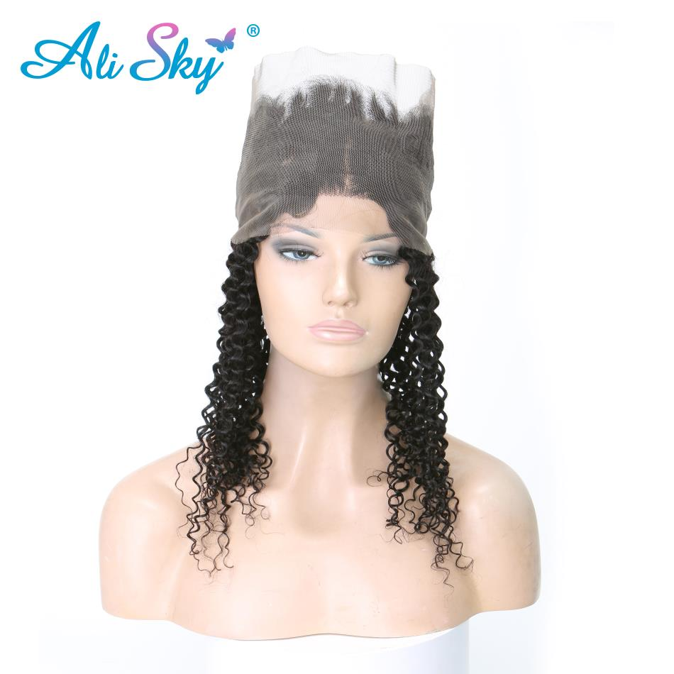 Ali Sky 360 Lace Frontal Brazilian Kinky Curly Hair 10-20 Natural Black Color 100% Human Hair With Adjustment non remy