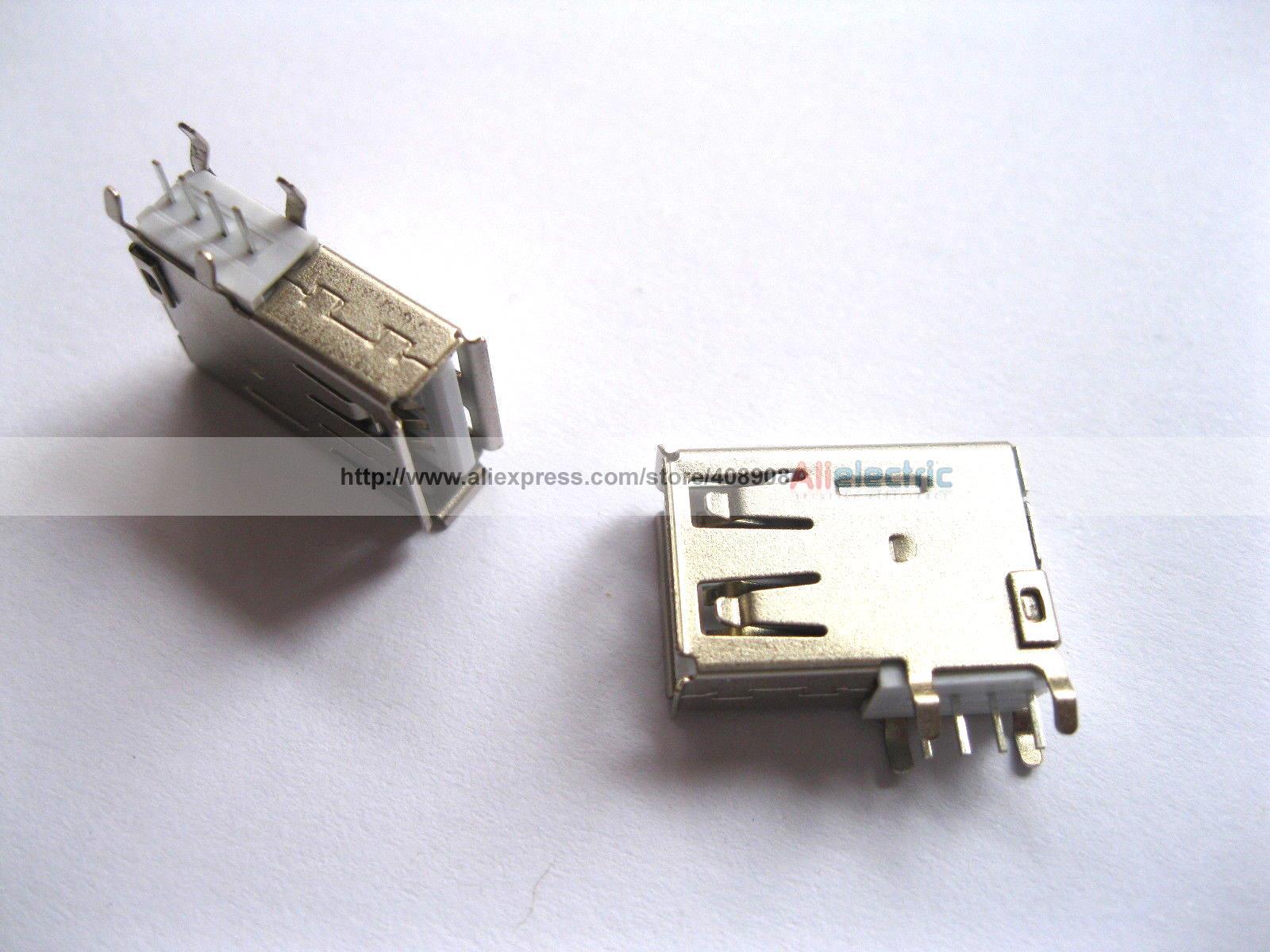 цена на 300 Pcs USB 4 Pin Female Connector Side AF DIP 90 Degree ASSY L