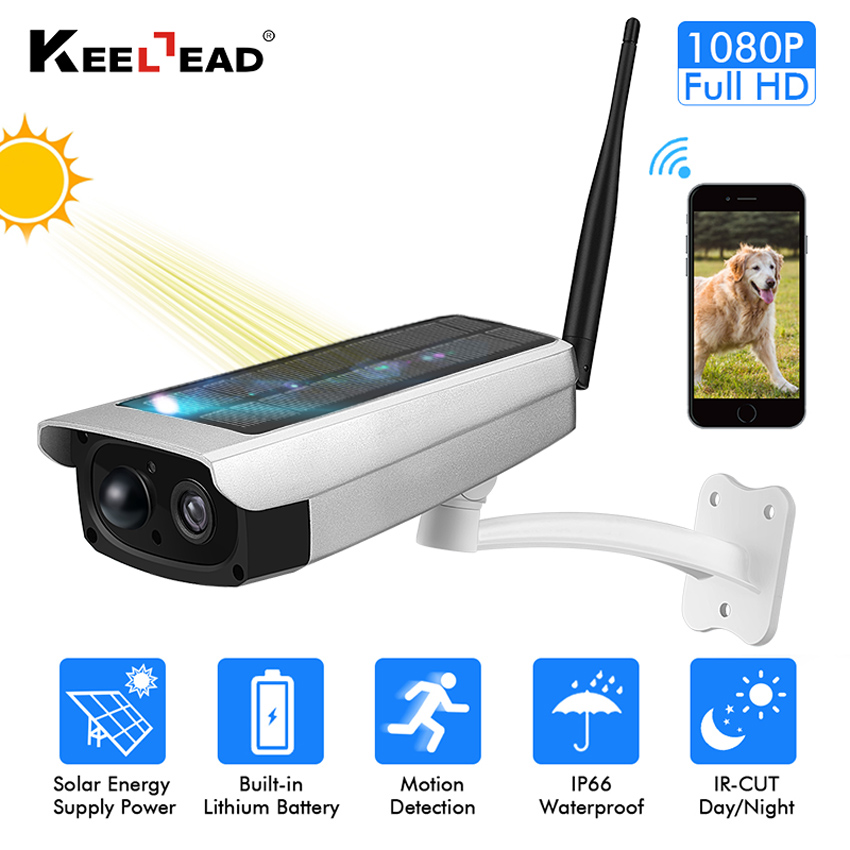 KEELEAD S1 Outdoor Waterproof Security Solar Camera 1080P Wifi Wireless IP Camera Mobile Phone Remote Built-in 7650mA Battery
