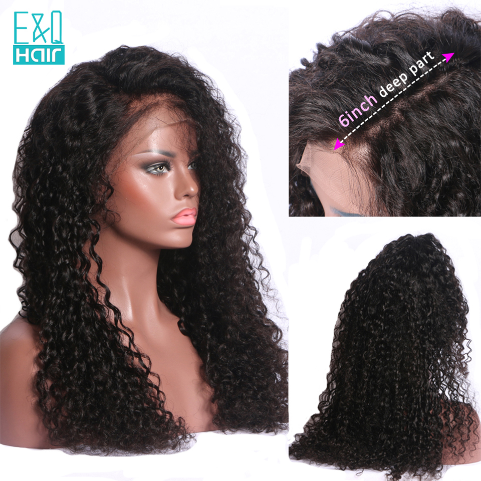EQ Hair 13x6 Deep Parting Curly Wave Lace Front Human Hair Wigs 250 Density Lace Front